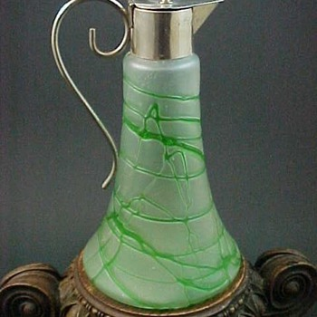 1904 Kralik Satin Colourless Art Glass Decanter with Applied Green Threading - Art Glass