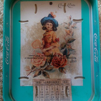 1891 January Green Calendar Tray