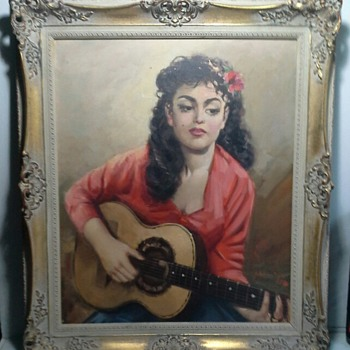 1950s gipsy girl painting - Visual Art