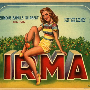 Irma Spanish Orange Crate Label Pinup circa 1950s Typography - Advertising