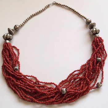 Red coral Art Deco necklace  - Fine Jewelry