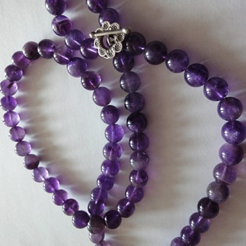 Beautiful Large Amethyst Round bead Silver Clasp Necklace