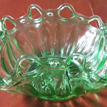 Uranium Green Depression Glass Bowl