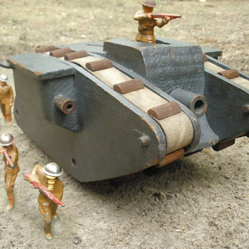 Wooden WWI Mk IV Tank pull toy. Manufactured by Harley Co Springfield Mass.