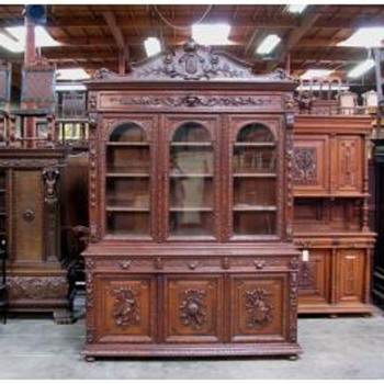 Antique French Victorian Bookcase circa 1890's - Furniture