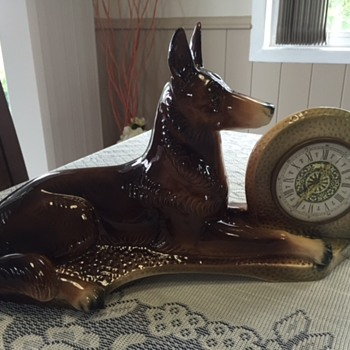 Jema Holland Large German Shepherd  Mantle Clock numbered (461) - Clocks