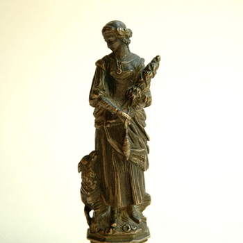french victorian bronze seal figuring a spinning  woman and a dog - Victorian Era