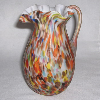 Fratelli Toso Italy - Clear Satin Multi Spatter Delicate Glass Jug 5.5 inches - Art Glass