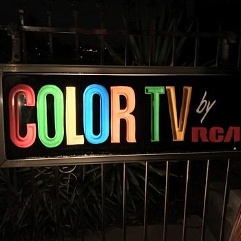 Vintage Motel Light COLOR RCA TV  - Signs