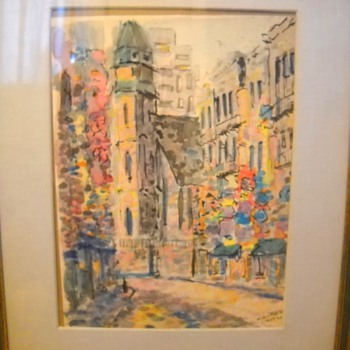 "1965 Mott & Pell Street China Town New York Watercolor Painting signed ""Laing"""