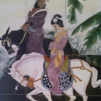 Art Tile Mural Of Chinese Man and Woman - Art Pottery