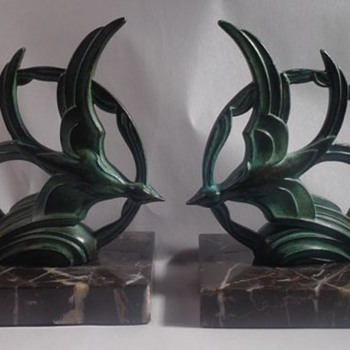 Gallot Spelter Flying Bird Bookends