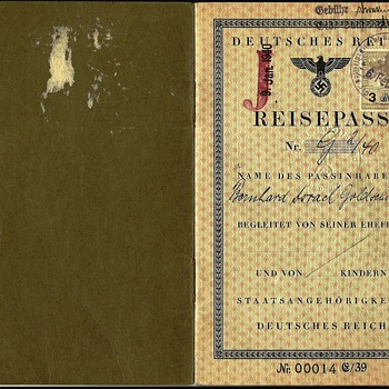 J stamped German passport issued to a Jew - Paper