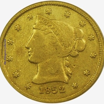 1852 Moffat $10 gold from the S.S. Central America shipwreck