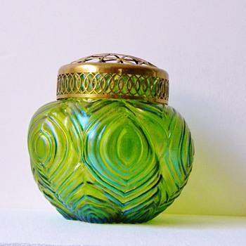 Art Nouveau Kralik Geometric Green Iridescent Vase Brass Rim - Art Glass