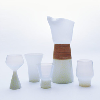 OPALINE jug and glasses, Jacob E. Bang (Kastrup, 1957)