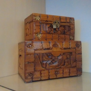two wood boxes that tell a story