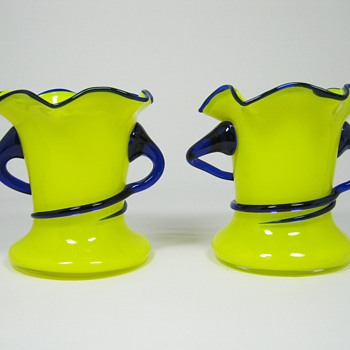 Pair of Yellow Czech art deco era Tango glass Vases with applied cobalt blue handles ca. 1920's 30's - Art Glass
