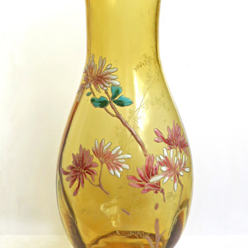 Legras Amber Enameled Vase with Witch Hazel Flowers