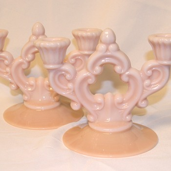 Pink Milk Glass Candle Holders