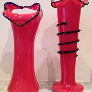 Pair of Welz (?) red tango vases