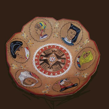 "Intriguing hand painted six panel leather ""mystery""  bowl. - Folk Art"
