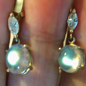 Antique Diamond Rarest Moonstone 14k Dangle Drop Earrings