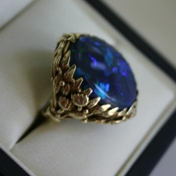 Black Opal Ring - Art Nouveau