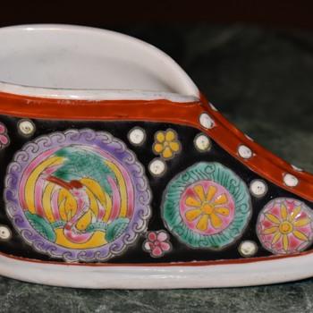 Famille Noir Porcelain Lady's Shoe - Pottery