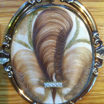 Mourning/sentimental hair and picture swivel brooches.