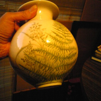 earthenware vase signed s + g