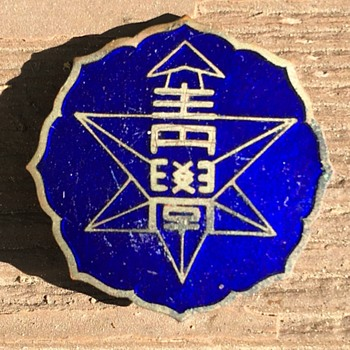 Blue enamel Asian language pin back