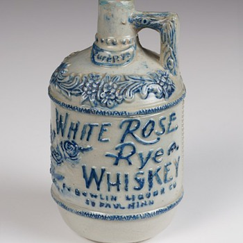 White Rose Rye Whiskey Advertising Stoneware Jug, c.1904 - Art Pottery