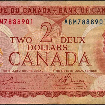 Canada - (2) Dollar Bank Note