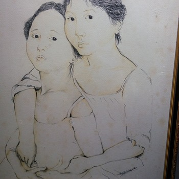 Oriental ink portrait painting signed by ????? Help  - Visual Art