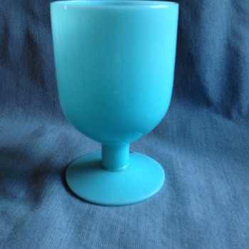 Old Genuine Lead Crystal Morgantown Turquoise Blue Goblet