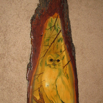 Painting of Owl on Bark of Tree