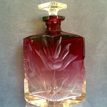Nouveau Moser Karlsbad Amethyst/Pink Perfume Bottle Decanter  - Art Glass
