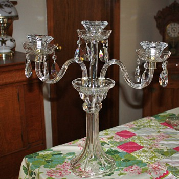 Crystal Candleabra marked Poland - Glassware