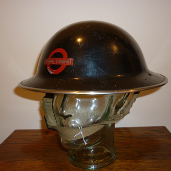 British WWII London Underground steel helmet.