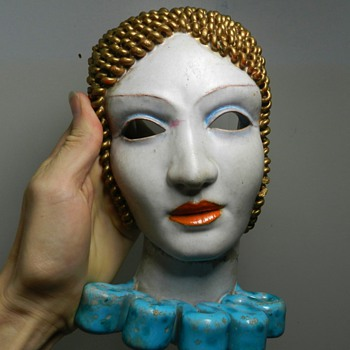 Anzengruber For Zacagnini Art Deco Wall Mask - Art Pottery