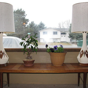 Danish Modern Ceramic and teak Lamps