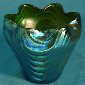Loetz Blue Silberiris Wellenoptisch Vase  - Art Glass