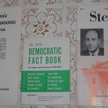 AFL voting record book, Democratic fact book, Adlai Stevenson campaign booklet.  - Books