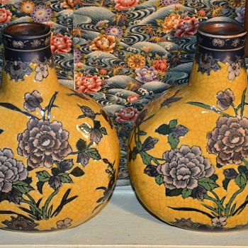 Imperial Peony Collection - Baum Bros. - China - Two Vases - Art Pottery