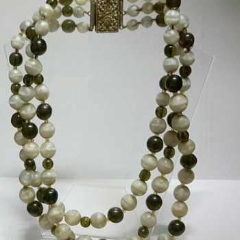 Agate and Glass Bead 3 Strand Necklace