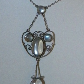 Antique Victorian Moonstone Silver Lavaliere Pendant Necklace 