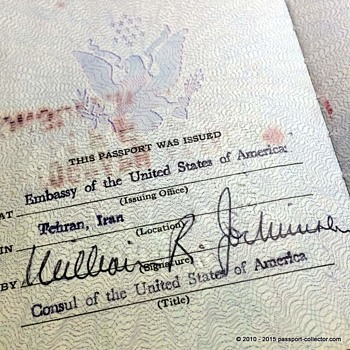 US Passport 1961 issued in Teheran, Iran - Paper