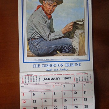 Vintage Will Roger Coshocton, Ohio The Coshocton Tribune 1969 Calendar