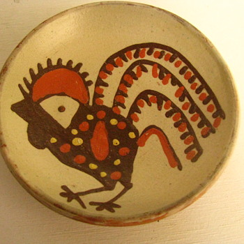 Antique/ Vintage Romanian Folk Art Pottery. Stylized Rooster Terracotta Dish. Horezu. Stefan Mischiu